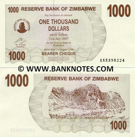 Banknote Simbabwe